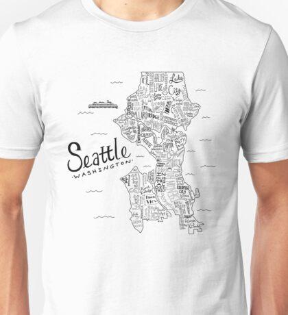 Seattle Map Unisex T-Shirt