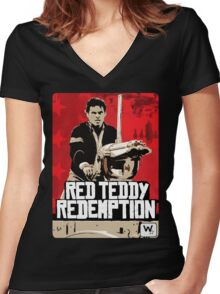 Red Teddy Redemption Mashup Women's Fitted V-Neck T-Shirt