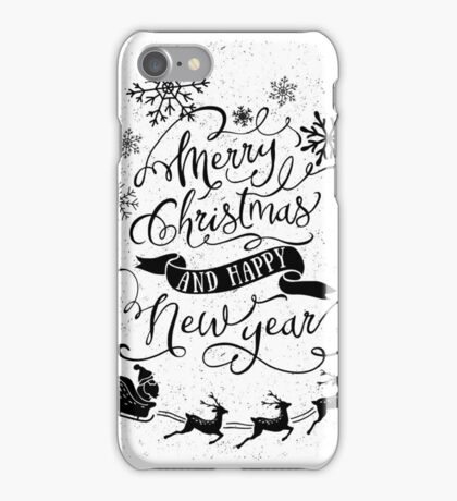 Merry Christmas & Happy New Year (Black) iPhone Case/Skin