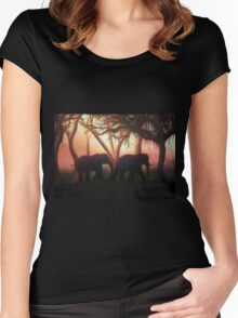 Elephant Sunset Women's Fitted Scoop T-Shirt