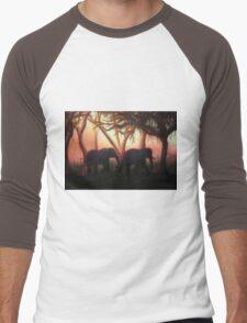 Elephant Sunset Men's Baseball ¾ T-Shirt