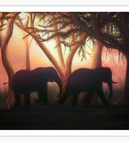 Elephant Sunset Sticker