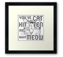 You've Cat To Be Kitten Me Right Meow Framed Print
