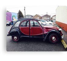 Classic vintage French Citroen car auto automobile vehicle red black Canvas Print