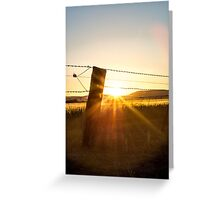 Fence Post Sunset Silhouette Greeting Card