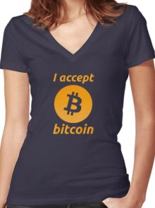 I Accept Bitcoin's! Women's Fitted V-Neck T-Shirt