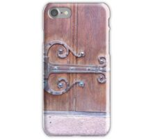 Detroit heritage antique wood door iron metal scroll treble hinge building downtown iPhone Case/Skin