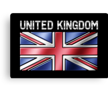 United Kingdom - British Flag & Text - Metallic Canvas Print
