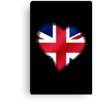 British Union Jack Flag - United Kingdom UK - Heart Canvas Print