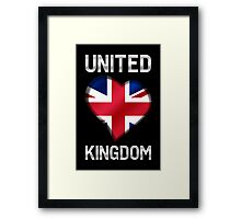 United Kingdom - British Flag Heart & Text - Metallic Framed Print