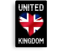 United Kingdom - British Flag Heart & Text - Metallic Canvas Print