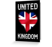 United Kingdom - British Flag Heart & Text - Metallic Greeting Card