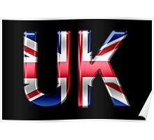 UK - British Flag - Metallic Text Poster