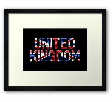 United Kingdom - British Flag - Metallic Text Framed Print