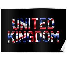 United Kingdom - British Flag - Metallic Text Poster