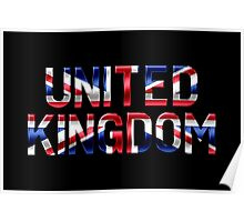 United Kingdom - British Flag - Metallic Text Poster