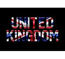 United Kingdom - British Flag - Metallic Text Photographic Print