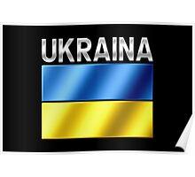 Ukraina - Ukrainian Flag & Text - Metallic Poster