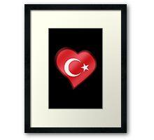 Turkish Flag - Turkey - Heart Framed Print