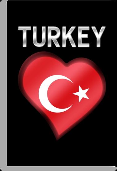 Turkey - Turkish Flag Heart & Text - Metallic by graphix