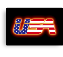 USA - Flag Logo - Glowing Canvas Print