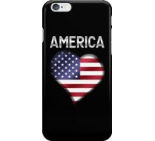 America - American Flag Heart & Text - Metallic iPhone Case/Skin