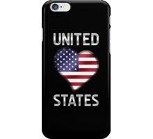United States - American Flag Heart & Text - Metallic iPhone Case/Skin