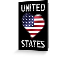 United States - American Flag Heart & Text - Metallic Greeting Card