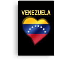 Venezuela - Venezuelan Flag Heart & Text - Metallic Canvas Print