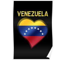 Venezuela - Venezuelan Flag Heart & Text - Metallic Poster