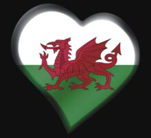 Welsh Flag - Wales - Heart by graphix
