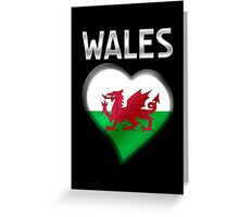 Wales - Welsh Flag Heart & Text - Metallic Greeting Card