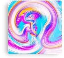pink blue yellow and white spiral pattern abstract background Canvas Print