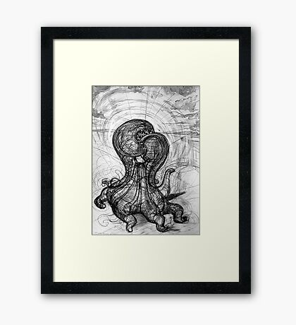 The Technological Singularity, (Drawing of a Sculpture) Framed Print