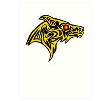 Gold wolf of the ember eye Art Print