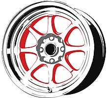 8 spoke red and black rims Photographic Print