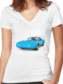 1970 Plymouth Superbird retro race car art photo print Women's Fitted V-Neck T-Shirt