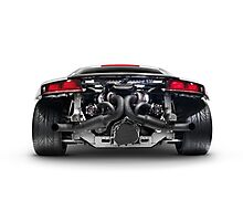 Audi Quattro R8 Turbo sports car rear view with exposed engine art photo print Photographic Print