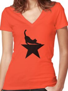 Hamilcat 2.0 for Hamilton Musical Fans Women's Fitted V-Neck T-Shirt