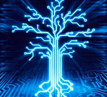 Glowing digital tree circuits conceptual illustration art photo print by ArtNudePhotos