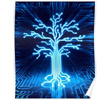 Glowing digital tree circuits conceptual illustration art photo print Poster