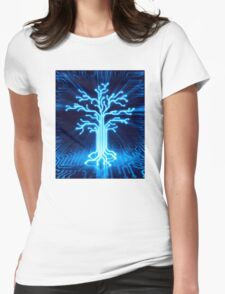 Glowing digital tree circuits conceptual illustration art photo print Womens Fitted T-Shirt