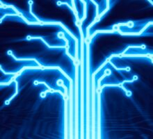 Glowing digital tree circuits conceptual illustration art photo print Sticker