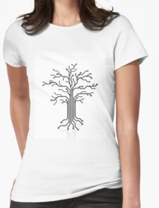 Digital tree circuits concept art photo print Womens Fitted T-Shirt