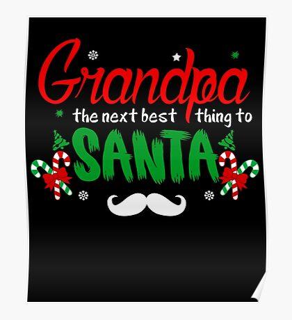 Grandpa Best Santa T-Shirt, Funny Grandfather Christmas Gift Poster
