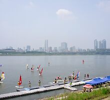 Windsurfers on the Han River by koreanrooftop