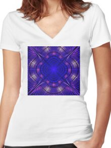 Fantastic abstract shining  in blue and purple tones Women's Fitted V-Neck T-Shirt