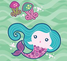 Lil' Blue Mermaid and Jellyfishes by prettycritters
