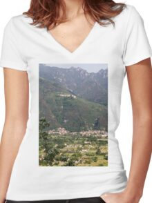 mountain landscape Women's Fitted V-Neck T-Shirt
