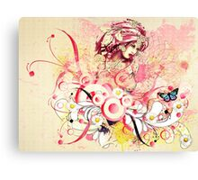 Abstract floral girl Canvas Print